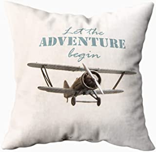 HerysTa Zip Pillow Case, Home Decorative Throw Pillow Cover 16X16inch Invisible Zipper Cushion Cases Let The Adventure Begin Travel Motivational Concept Square Sofa Bed Décor