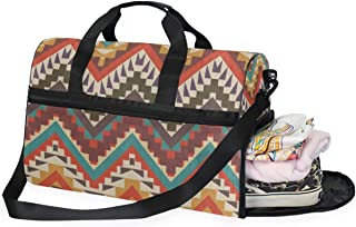 Travel Tote Luggage Weekender Duffle Bag, Colorful Aztec Chevron Tribal Large Canvas shoulder bag with Shoe Compartment
