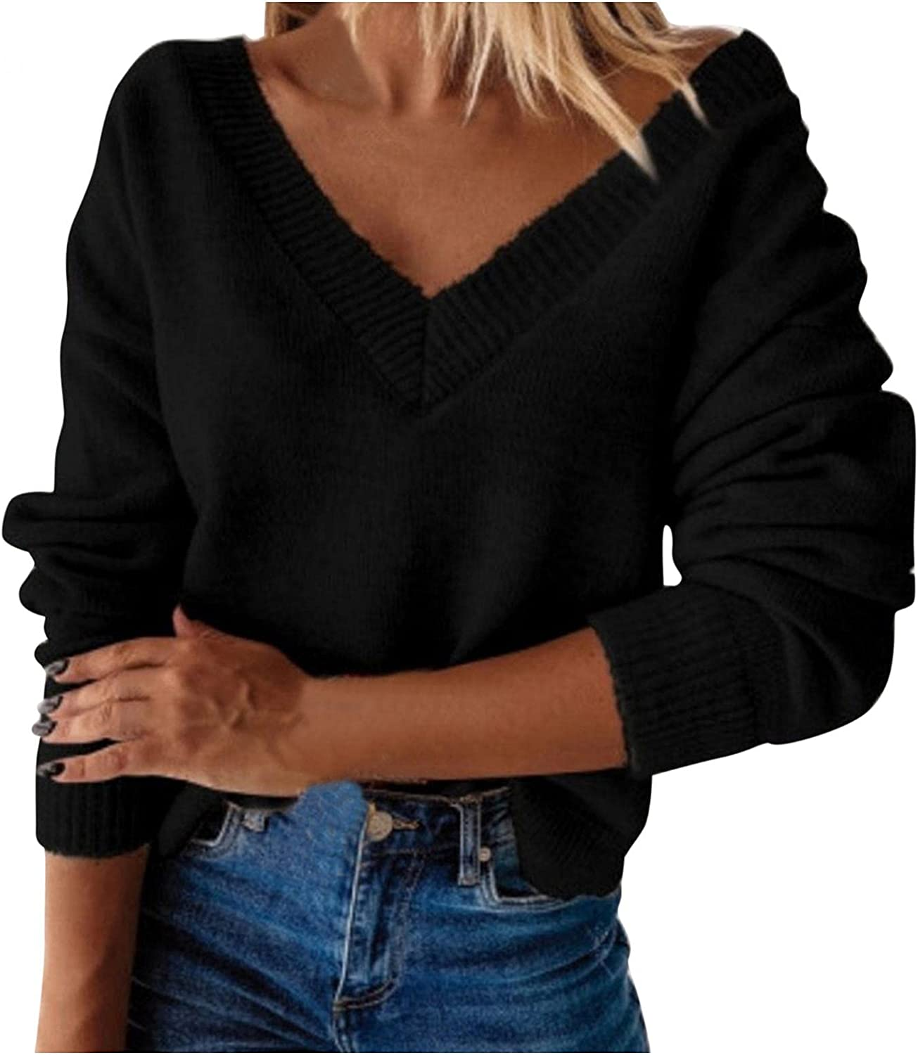 Sweaters for Women,Women's V Neck Oversized Long Sleeve Winter Warm Knitted Sweater Casual Pullover Jumper Tops