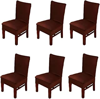 6 X Dinning Room Chair Seat Covers Spandex/Fabric, Moonter Stretch Removable Washable Banquet Slipcover Protector Folding Decoration For Wedding, Party,Ceremony ,Hotel (Set of 6, Brown)