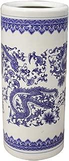 JJ-SFC Porcelain Umbrella Racks Stand,Round Blue and White Vase,Free Standing Umbrella Storage Holder Shelf for Canes Walking Sticks Umbrella Organizer Container-22x22x50cm(9x9x20)