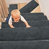 PURE ERA Bullnose Carpet Stair Treads Set of 14 Non-Slip Self Adhesive Ultra Plush Soft Pet Friendly Skid Resistant Tape Free Washable Reusable Dark Grey 9.5' x 30'x1.2'