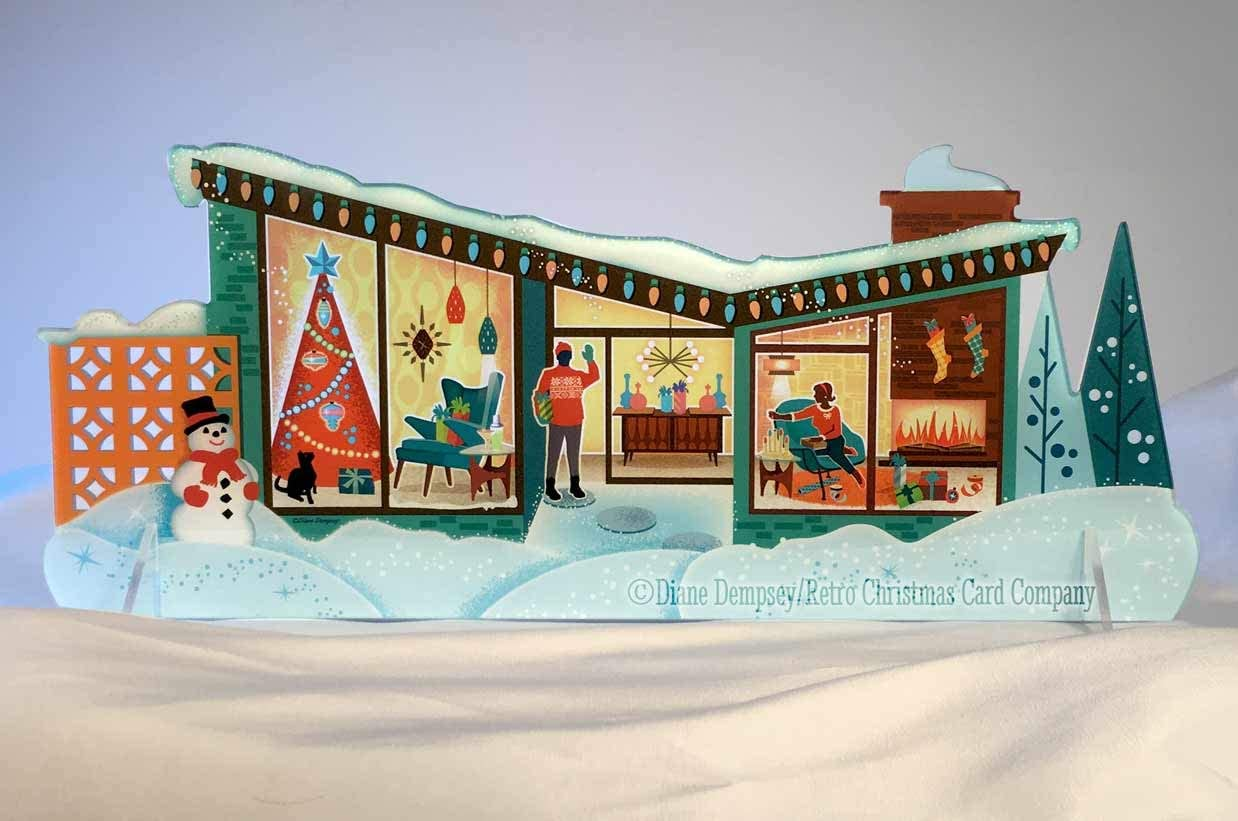 The Butterfly   Mid-Century Modern Christmas House Table Top Display