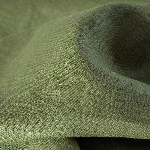 Tela de lino - verde militar - 100% lino suave | ancho: 137cm (1 metro)