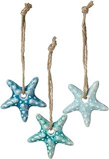 Set of 3 Assorted Midwest CBK Ceramic Coastal Ornaments on Jute Rope Hangers (Starfish)
