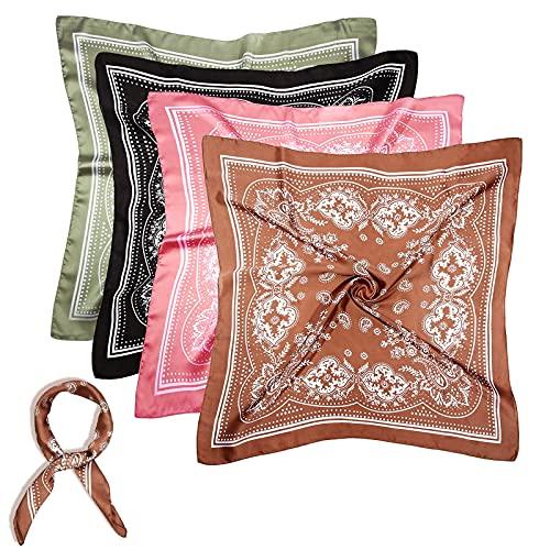 WUZJ 4 unids Seda sentimiento Cabeza Bufanda, Bufanda de Pelo Satinado Cuadrado para Mujeres, Bufandas de Pelo de Cuello envolventes de pañuelo de Cabeza de pañuelo de pañuelos Noche de Regalo,53cm