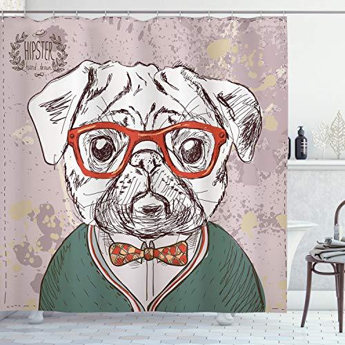 ABAKUHAUS Bunt Duschvorhang, Vintage Hipster Möpse, mit 12 Ringe Set Wasserdicht Stielvoll Modern Farbfest & Schimmel Resistent, 175x180 cm, Mehrfarbig