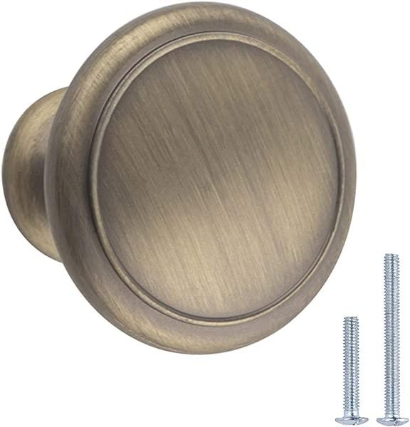 AmazonBasics AB1200 AB 10 Cabinet Knob 1 16 Diameter Antique Brass