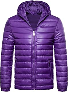 Sodossny-AU Men Winter Ultralight Zip Front Hoodie Quilted Padded Coat Parka Jackets