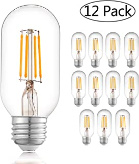 TZOE Edison Bulb,LED 4w Dimmable Squirrel Cage Filament Vintage Light Bulbs T45(T14) Antique Teardrop Design Retro Pendant Lights E26/E27 110-130V (12 Pack)