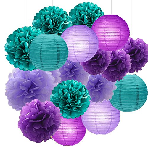 Sogorge Mermaid Party Decorations /Under The Sea Party 18pcs Teal Lavender Purple 10inch 8inch Tissue Paper Pom Pom Paper Lanterns for Birthday Decor Baby Shower Decorations Frozen Party Supplies