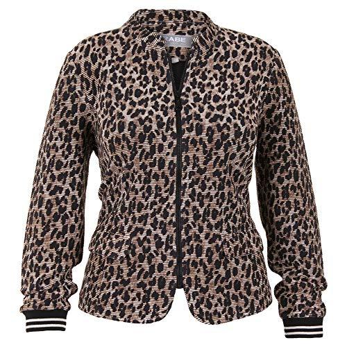 Rabe Damen Jacken-Blazer mit Leo-Print und Ringel-Bündchen