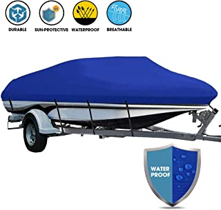 LEADALLWAY Boat Cover Heavy Duty 600D Oxford Fabric with PVC Coating Outboard Cover Fits V-Hull Tri-Hull Runabouts and Bass Boats