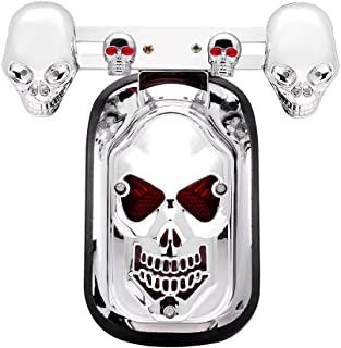 DASHUHUWAI Motorcycle skull Brake Tail Light Lamp Universal Fit For bikes/ Suzuki motorcycle /Curiser / Touring and custom applications, Fit most of the Bike, Motorcyle, ATV, Scooter, Curiser, Chopper, license plate holder features a dual high intensity LED taillight/brake light, Long-lasting,Super bright, Easy to install / Motorcycle Skull LED Rear Tail Light Mount Plate for Harley Yamaha Classic Bikes MOTORCYCLE LED INTEGRATED REAR TAIL LIGHT SIDE MOUNT PLATE FOR HARLEY Tombstone Tail Rear Brake Running Light Red Light Color Universal Fit For Motorcycle / Rear Chrome Turn Signals Indicators Blinkers Lights Fits Metric Cruisers, Harleys, Choppers Enhance the look with these Bullet Chrome Custom Turn Signals Blinkers, Harley Davidsons, Suzuki, Honda, Kawasaki, Yamaha Cruisers / Motorbike Motorcycle ATV LED Tail Rear Brake License Plate Light Lamp Bulb / A Set Of Cool Black ATV Motorcycle Motor Skull Rear Brake Tail Light Lamp For Harley Chopper Bobber Honda 12V -White