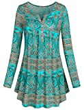 SeSe Code Plus Size Clothing for Women, Crewneck Flattering Long Sleeve Floral Shirts Flared Casual Tunic Tops Green XXL
