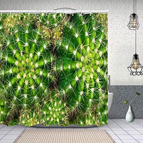 Cortina Baño,Vista Superior Detalle de Cactus Planta casera,Cortina de Ducha Tela de Poliéster Resistente Al Agua Cortinas de Ducha Baño con 12 Ganchos,180x180cm