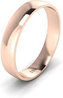Unisex Solid 10k White Rose Yellow Gold 4mm Comfort Traditional Highly Polished Wedding Ring Plain Band