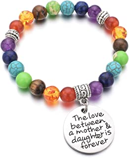 DYJELWD Mother Bracelet 7 Chakra Beads Healing Stretch Bracelet The Love Between a Mother and Daughter is Forever