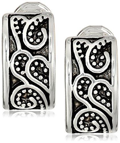 Napier'Napier Classics' Silver-Tone Paisley Textured Clip Earrings