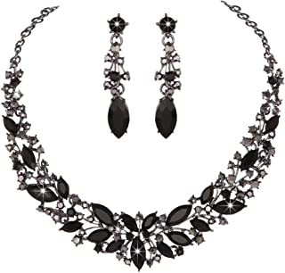 Youfir Austrian Crystal Rhinestone Bridal Wedding Necklace and Earrings Jewelry Sets for Women
