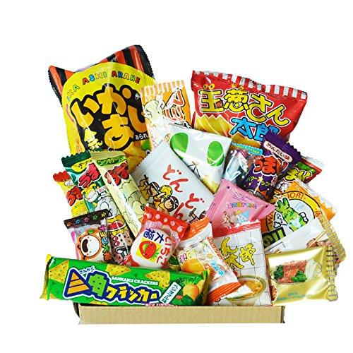 Caja feliz de Dagashi 20pcs ver.2 caramelo japonés Umaibo de la patata de la patata Chip Gumi calamar chocolate con AKIBA KING Etiqueta