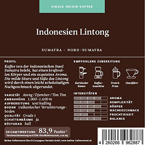 BKR | Kaffee | Indonesien | Sumatra Lintong | Arabica | Single Origin 500g Bohne