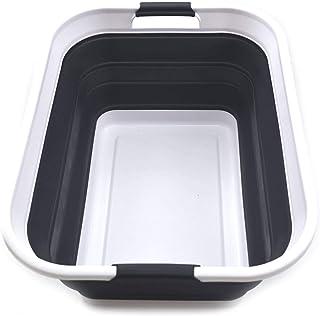 SAMMART Panier à Linge Pliable en Plastique - Conteneur de Rangement/Organisateur Pliable - Bac de Lavage Portable - Panie...