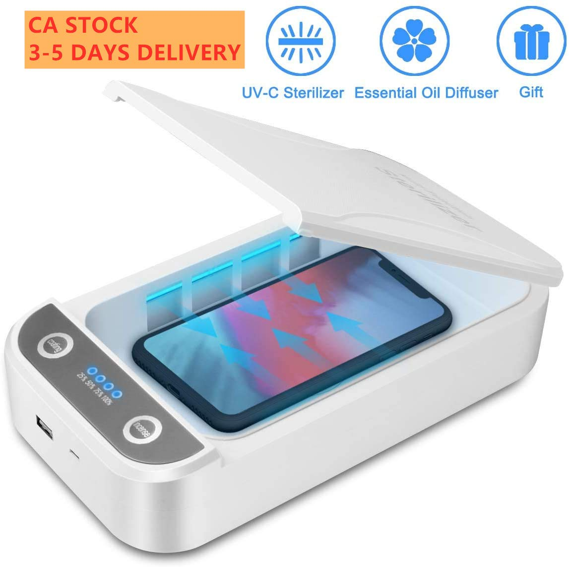 Portable UV Light Cell Phone Sanitizer Cell Phone Disinfector-Blue Phone Sterilizer Smartphone Cleaner with Aromatherapy Function