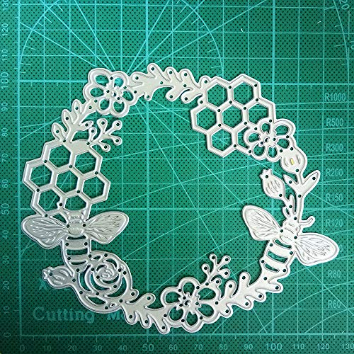 The Bees Wreath Cutting Dies Stencils Scrapbooking Template for Card Making Dies Templates Embossing Mould Crafts Template Dies Cut for Album Paper Card Decor Craft