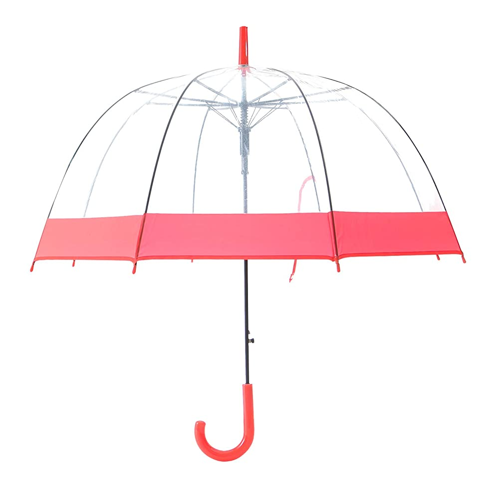 Artiron Colorful Trim Clear Umbrella Bubble Fashion Dome Auto Open Transparent Umbrella for Outdoor Weddings Windproof (Red Trim)