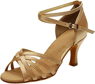 Women's Solid Fashion Rumba Waltz Prom Ballroom Latin Salsa Dance Buckle Strap Shoes Sandals