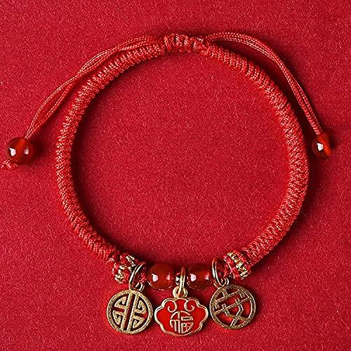 TIANYOU Feng Shui Riqueza Amuleto Pulsera Sier Lucky Cat Colgante Ruyi Lock Gong XI FA CAI Colgante Pulsera Trenzada Ajustable Cinnabar Red Agate Beads Atraer Buena Suerte, Lock