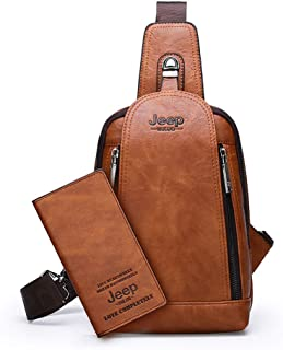 Sling Bag Crossbody Backpack Shoulder Bag for Young Men(Orange)