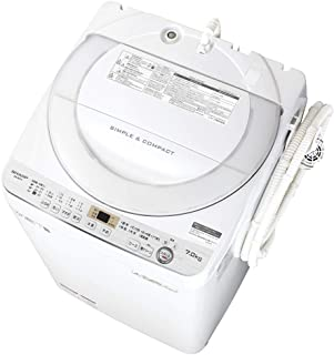 シャープ SHARP 全自動洗濯機 幅56.5cm(ボディ幅52.0cm) 7kg ステンレス穴なし槽 ホワイト系 ES-GE7C-W