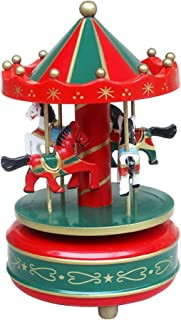 BaoCore Classic Wooden Merry-Go-Round 4 Horse Rotation Wind-up Music Box Christmas Birthday Gift Carousel Music Box Play the Castle in the Sky Tune