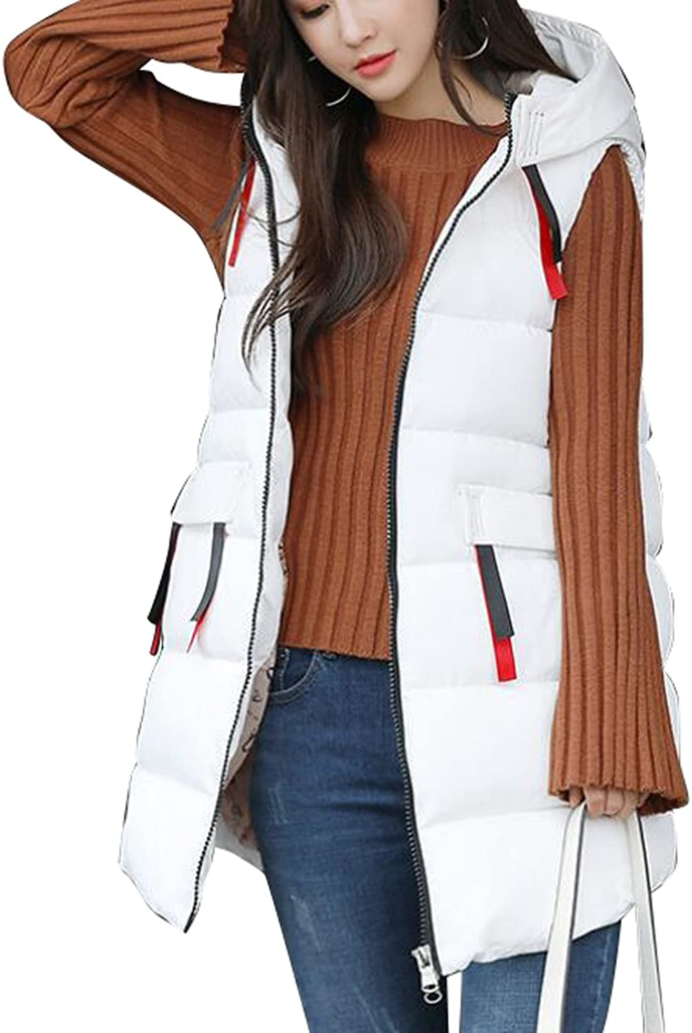 Fensajomon Womens Winter Hoodie Mid Length Down Quilted Puffer Vest Coat Waistcoat