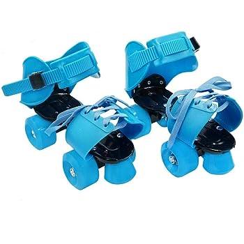 YUANJ ローラースケート 四輪 子供用 着脱/サイズ調節可能 適合靴サイズ:19cm〜25cm 靴に直接取付 初心者向け 幼児 児童 男の子 女の子 男女兼用ブルー