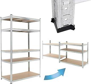 ECD Germany Étagère de Rangement Rayonnage - 200x120x50 cm - Capacité max. 350 kg - 5 Tablettes MDF - Cadre en Métal Galva...