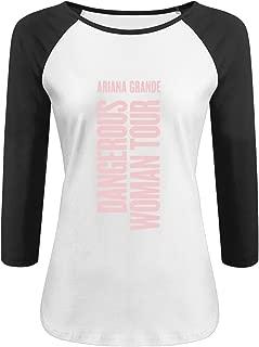 Women's Dangerous Woman Tour 3/4 Sleeves Shirt Black Cool