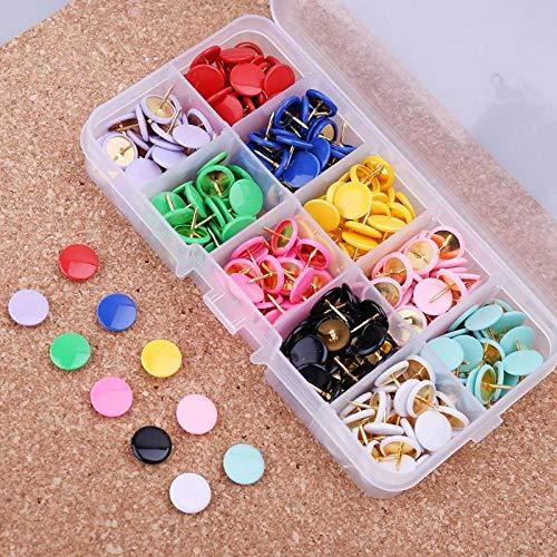 Yanxinejoy kunststof punaises in schattige kleuren, creatieve punten, platte en ronde kop, kurknagels, punaises, 10 kleuren