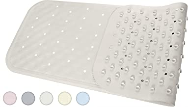 Yimobra Bath Tub Mat Rubber Shower Mats Extra Long 37 X 14.2 Inches, Bathtub Shower Mat Non-Slip with Drain Holes, Suction Cups, Phthalate Free, Machine Washable, Bathroom Mat for Tub, Lvory White