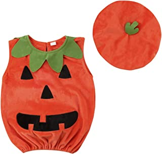 Toddler Infant Baby Girl Boy Halloween Costume Pumpkin Face Shirt Top Cosplay Outfits with Hat