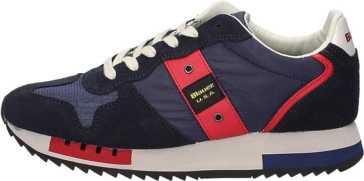 Scarpe blauer sneaker running mod. queens in suede/tessuto blu navy uomo u20bu01 9FQUEENS01