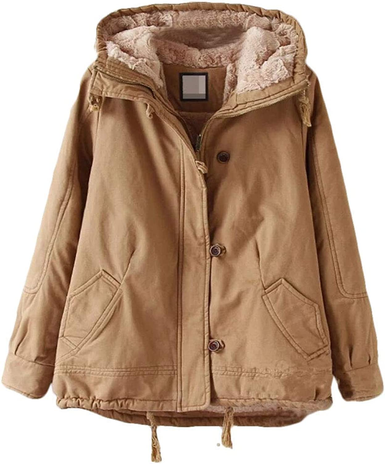 BU2H Women Autumn Classic Solid Anorak Sherpa Faux Fur Lined Parka Jacket