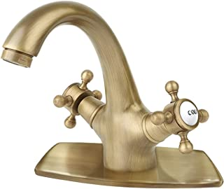 Bathroom Sink Faucet Antique Brass Single Hole Cold and Hot Double Handle Cross Knobs Vanity Vessel Sink Basin Mixer Tap