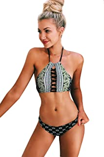 CUPSHE Women's Black Lace Up Halter Padding Bikini Set Sexy Swimwear Bathing Suit