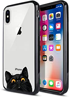FINCIBO Case Compatible with Apple iPhone X XS 5.8 inch, Slim Shock Absorbing TPU Bumper + Clear Hard Protective Case Cover for iPhone X XS - Black Bombay Kitten Cat