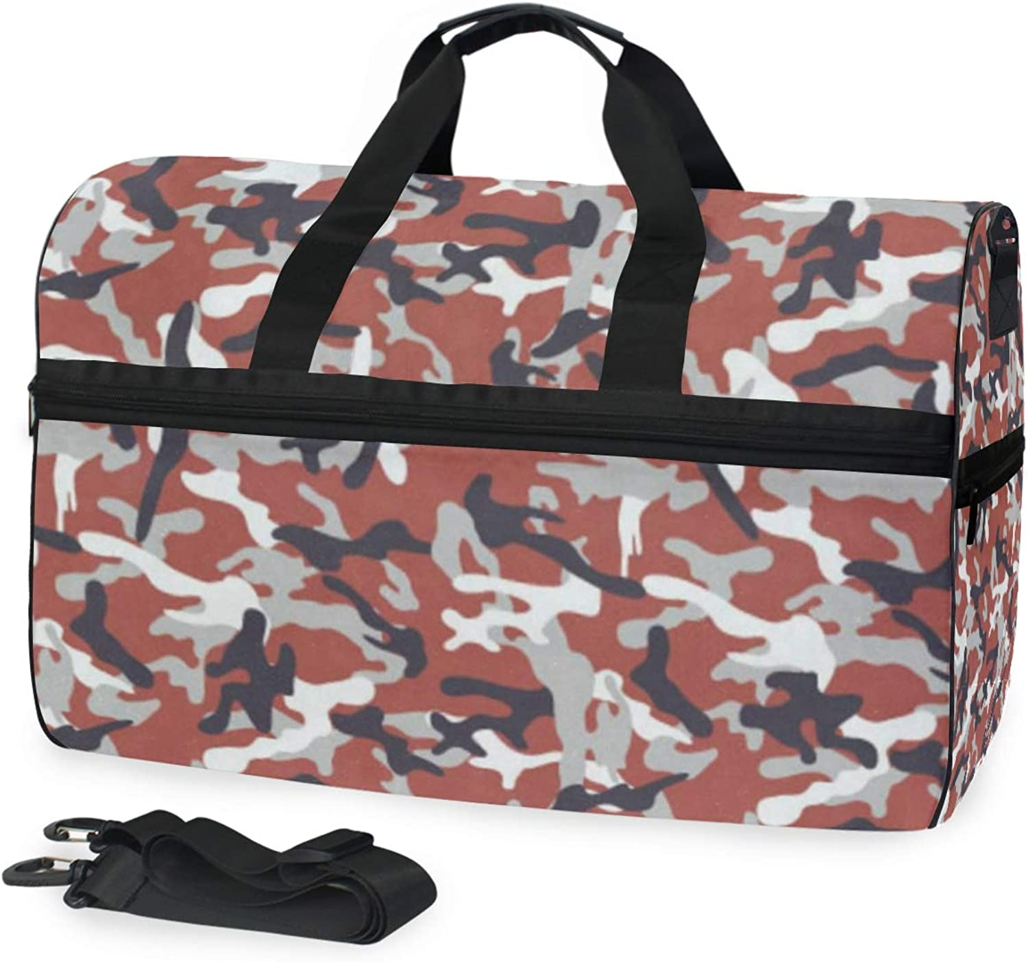 Camouflage Pattern Gym Bags for Men&Women Duffel Bag Weekender Bag with shoes Compartment