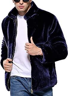 Faux Mink Fur Collar Jacket Fashion Winter Warm Thick Outerwear for Men