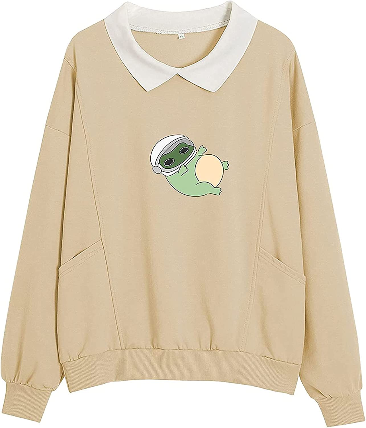 SERCFGYUJ Sweatshirt for Womens Casual Autumn Cute Frog Graphics Blouse Long Sleeve Turn-Down Collar Pullover with Pockets